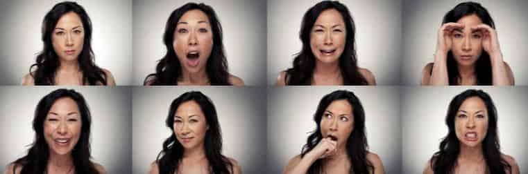 Лицо девушки с разными эмоциями